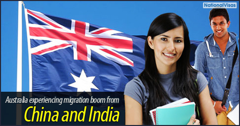 Australia experiencing migration boom from China and India
