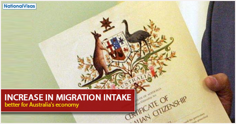 australia should increase its migrant intake However, it is difficult to fine-tune our net migration intake, nor would it be  more  people will make it possible to increase the division of labour.