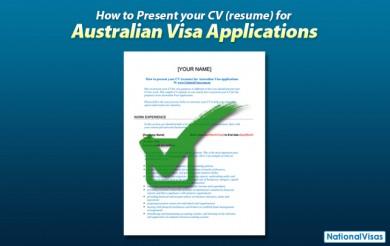 How to present your CV (resume) for Australian Visa applications