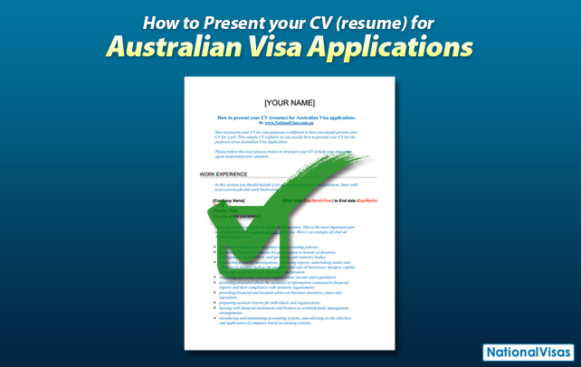 How to present your CV (resume) for Australian Visa applications